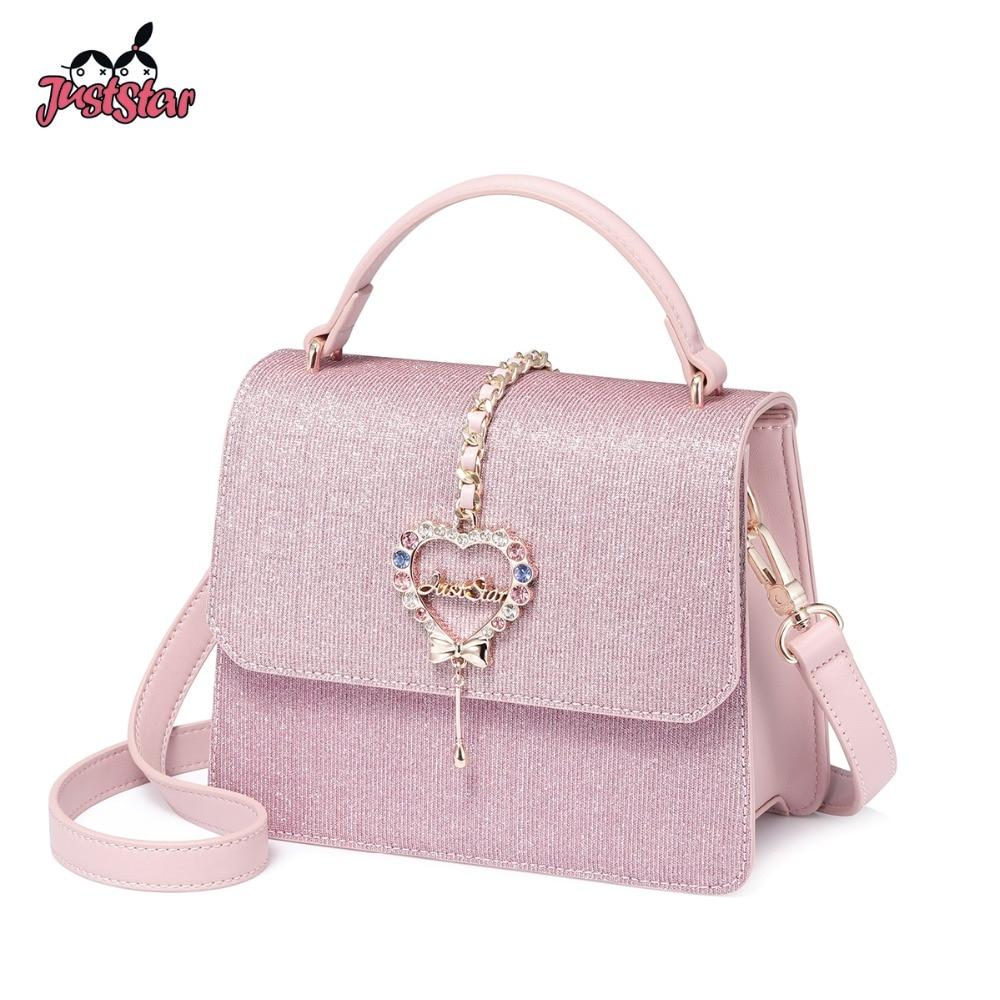 JUST STAR Women s PU Leather Handbags Ladies Fashion Love Diamond Shoulder Tote Purse Female Elegant
