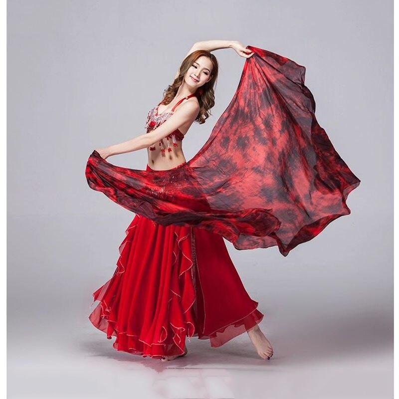 2016 100% Silk Stage Performance Prop Double Colors Tie Dye Light Texture Scarf Women Dance Accessories Belly Dance Silk Veil