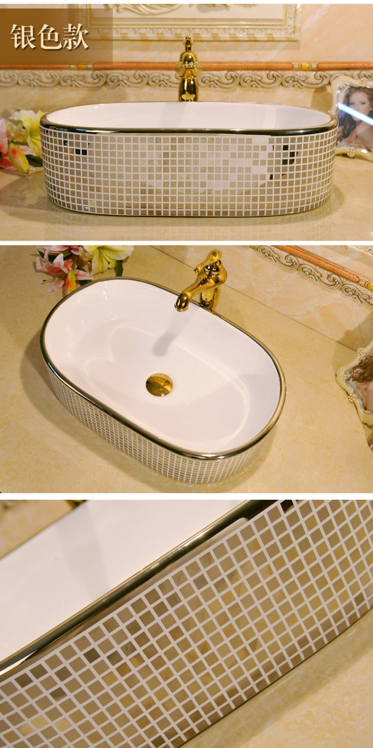 Silver Mosaic Design Oval Basin Washbasin Jingdezhen Art Ceramic Wash Basin Vessel  Sinks Countertop Bathroom Sinks In Bathroom Sinks From Home Improvement ...