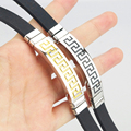 22cm*8mm New Design  Wrap Bracelets leather bracelet  Pure 316L Stainless Steel Gold Black Jewelry for Women Men HZF056