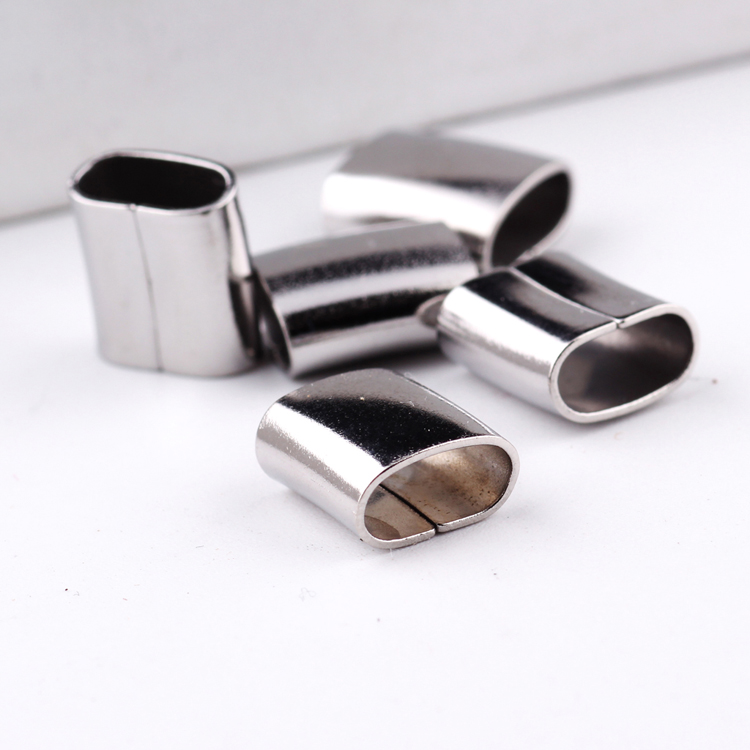 reidgaller 20pcs flat licorice leather sliders spacer stainless steel jewelry connector charms diy bracelet making supplies contrast bow flat sliders