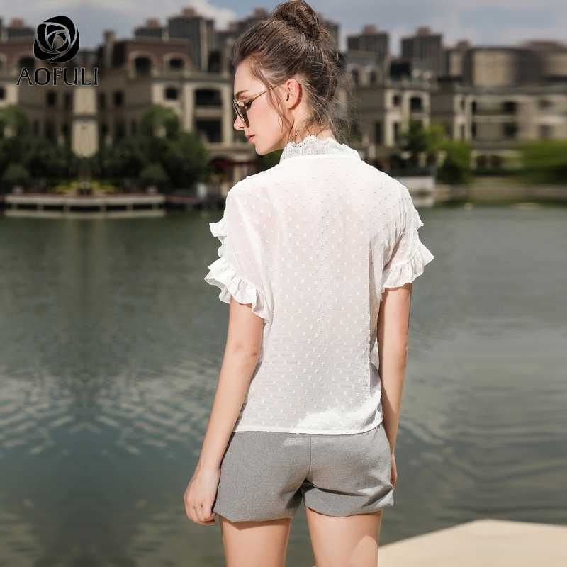 1b2c80bccf8 ... AOFULI Plus Size Asymmetrical Shorts 2018 Summer Women Short Pants  Brand Plus Size Casual Trousers L ...