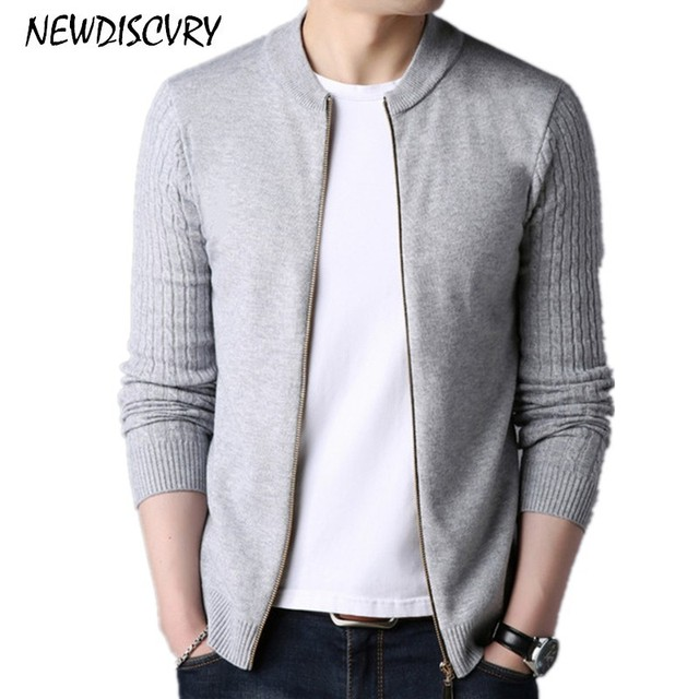 0d72db7a7de9 NEWDISCVRY Men's Zipper Cardigan Sweaters Casual Thick Warm Men Knitted  Clothe 2018 Autumn Winter Pure Color