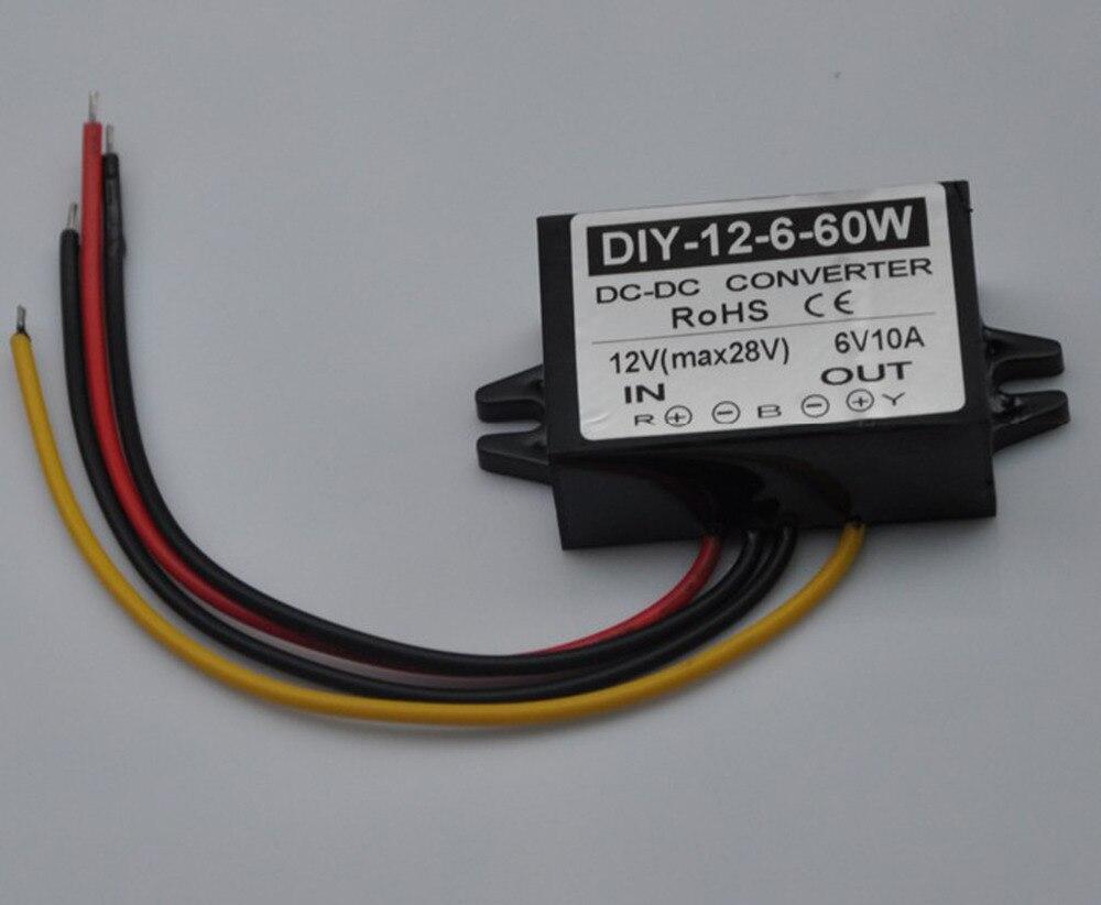 12V(9V-28V) Step Down 6V 10A 60W DC-DC Converter Module DC Buck Converter Car Power Adapter Voltage Regulator Waterproof converter dc 12v 9v 27v step up to 28v 10a 280w dc dc waterproof boost power module power supply adapter voltage regulator