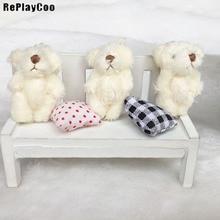 100PCS/LOT Joint Ted Bear Plush Toy Stuffed Animal Creamy-White 4.5cm  Doll Teddy Bear Stuffed  Pendant Toy Wedding Gifts HMR009 стоимость