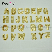 A Set Of Gold Sequin Beaded Letters 26 Patches For Clothing