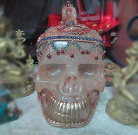 Tibe Nepal Crystal Original handwork inlay Gem Skull Skeleton Buddha Head statue