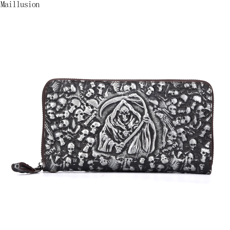 Maillusion Men Wallets Genuine Leather Gents Wallet Wristlet Vintage 3D Skull Male Clutch Cartera Money Famous Brand Coin Purses banlosen brand men wallets double zipper vintage genuine leather clutch wallets male purses large capacity men s wallet