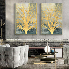 Nordic Style Abstract Golden Tree Oil painting on Canvas Art Posters and Prints Wall Picture for Living Room Cuadros Decoracion