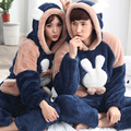 2017 Autumn Winter Coral Velvet Couple Pajama Sets Cute Rabbit Animal Sleepwear Thick Pyjamas For Women/Men Warm Home Clothes