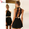 Sexy Black Halter Cheap Cocktail Dresses Short Lace Sleeveless Party Dress Sash Custom Made 2016