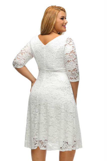 08a6bc029f4 Black White Floral Lace Sleeved Fit and Flare Curvy Girls Dress Knee Length  Plus Size XXXL
