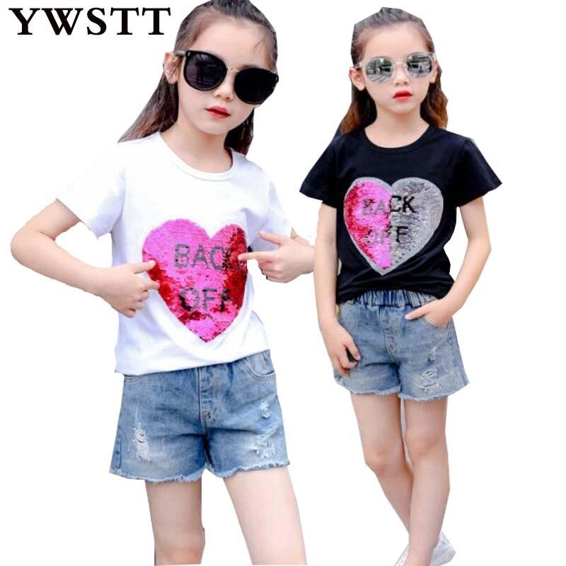 Модные хлопковые летние футболки для девочек с блестками обесцвечивание детская одежда девушка Рубашка с короткими рукавами футболки Детс... ...