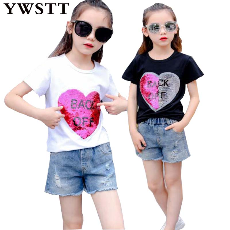 Fashion Cotton Summer Girls T-shirts With Sequins Discoloration Children Clothes Girl Short Sleeves Tshirts Kids Tee Tops kids pineapple print tee with rolled hem shorts