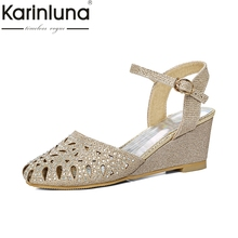 karinluna large size 33-45 cut outs bling upper women shoes woman elegant comfotable wedge heels summer party sandals woman(China)