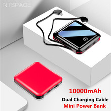 NTSPACE 10000mAh Mini Power Bank 2.1A Quick Charge Portable Powerbank Fast Charging Pack External Battery Dual Cable