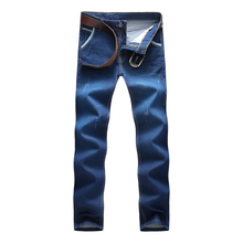 Blue Mens Jeans 2017 Fashion Business Casual Male Pants LEFT ROM Men Cowboy Trousers Size 28-38 Elasticity Teens Youth New Hot