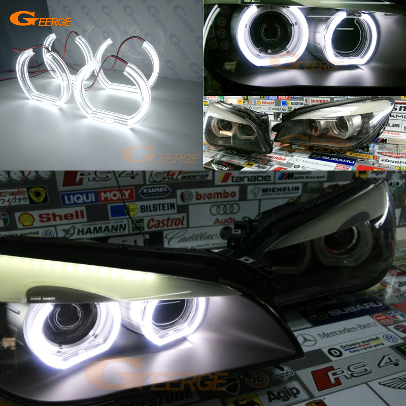 For BMW F01 F02 F03 F04 730d 740d 740i 750i 760i 2008-2012 XENON HEADLIGHT Excellent DTM Style Ultra bright led Angel Eyes kit стоимость
