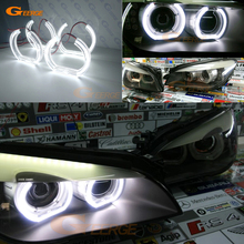 купить For BMW F01 F02 F03 F04 740 750 760 BI-XENON HEADLIGHTS 2008-2012 Excellent DTM Style Ultra bright led Angel Eyes kit дешево
