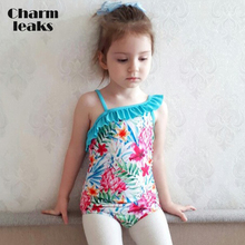 Charmleaks Girls One Piece Swimsuits Flower Print shoulder Swimwear Kids Ruffle Cute Bikini Beach Wear