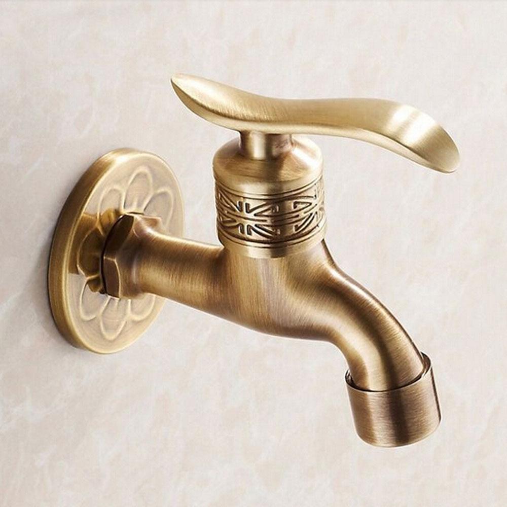 Antique Brass Garden Faucet Flower Carved Bibcock Faucet