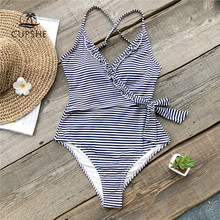 CUPSHE Navy And White Striped One-piece Swimsuit Women Ruffle Tied Bow Monokini 2018 Backless Beach Bathing Suits Swimwear(China)