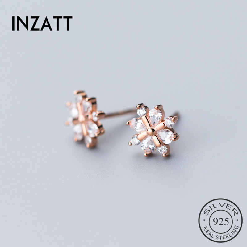 INZATT  Bohemia Snow Stud Earrings For Women Engagement Rose Gold Color 925 Sterling Silver fashion Mujer Moda 2018 Jewelry Gift