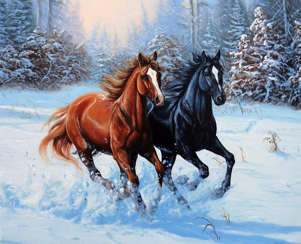 Running Animal DMC Crafts Sewing Snow Horse 14CT Counted Needlework Cross stitch Sets Embroidery kits Cross-Stitch wall decor