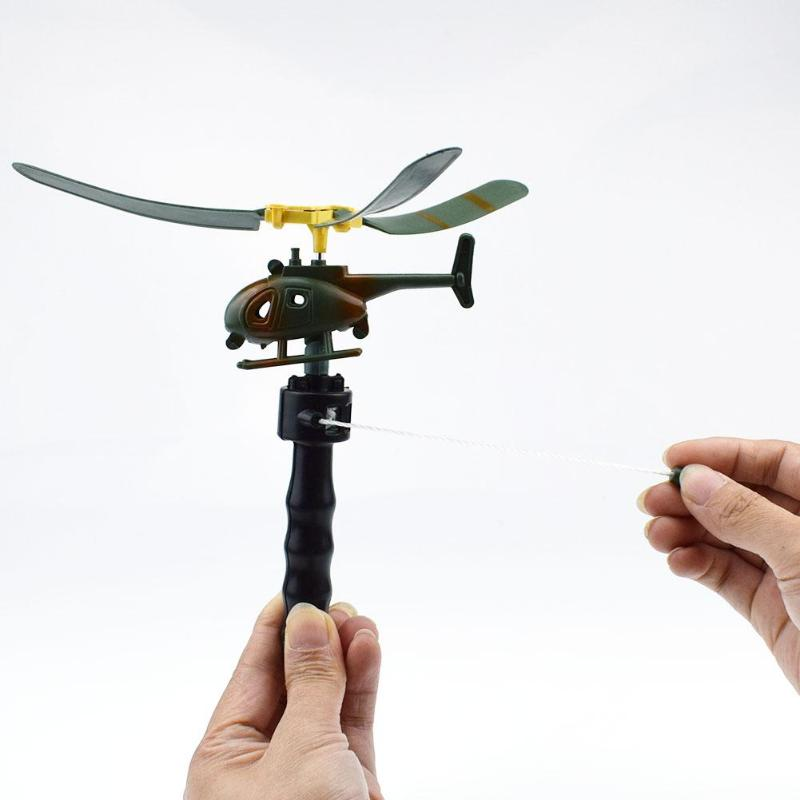 Aviation Model Copter Handle Pull Helicopter Plane Child Outdoor Toys For Kids Playing Drone Children's Day Gifts For Beginner