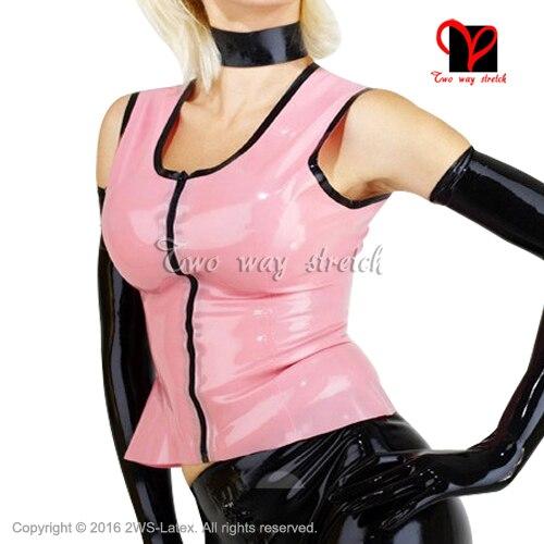 Rose avec garnitures noires Sexy Latex gilet zipper sans manches maillot de bain col rond haut en caoutchouc chemise vêtements vêtements XXXL SY-070