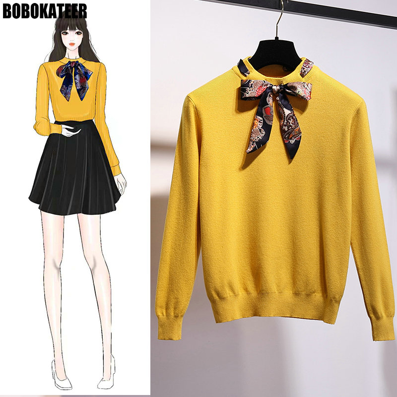 BOBOKATEER Sweater Women Fashion 2018 Winter Red Yellow Knitted Women Sweater And Pullover Female Jersey Mujer Jumper Pull Femme