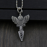 JINSE Lucky Eagle God Trunk Pyramidal Instruments Necklace Pendant for Men S925 Sterling Silver Vintage vajra pestle 60*30MM