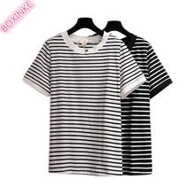 цены 2019 Rushed Casual Knitted Tumblr Unicorn Fat Mm Large Size Women's Wear Korean Striped T-shirt 100 Kg New Cotton Summer Jacket