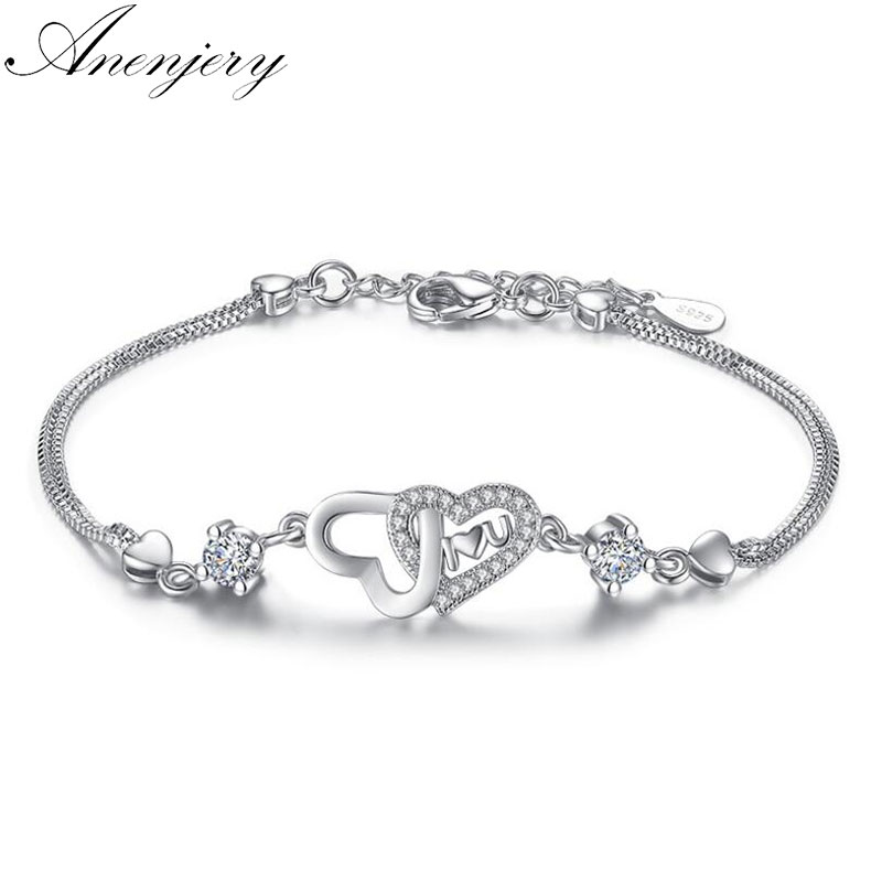 énorme réduction 29a4d e49df US $3.46 23% OFF|Anenjery 925 Sterling Silver Eternal Love Heart Zircon  Double Layer Chain Bracelet For Women pulseira feminina S B47-in Chain &  Link ...