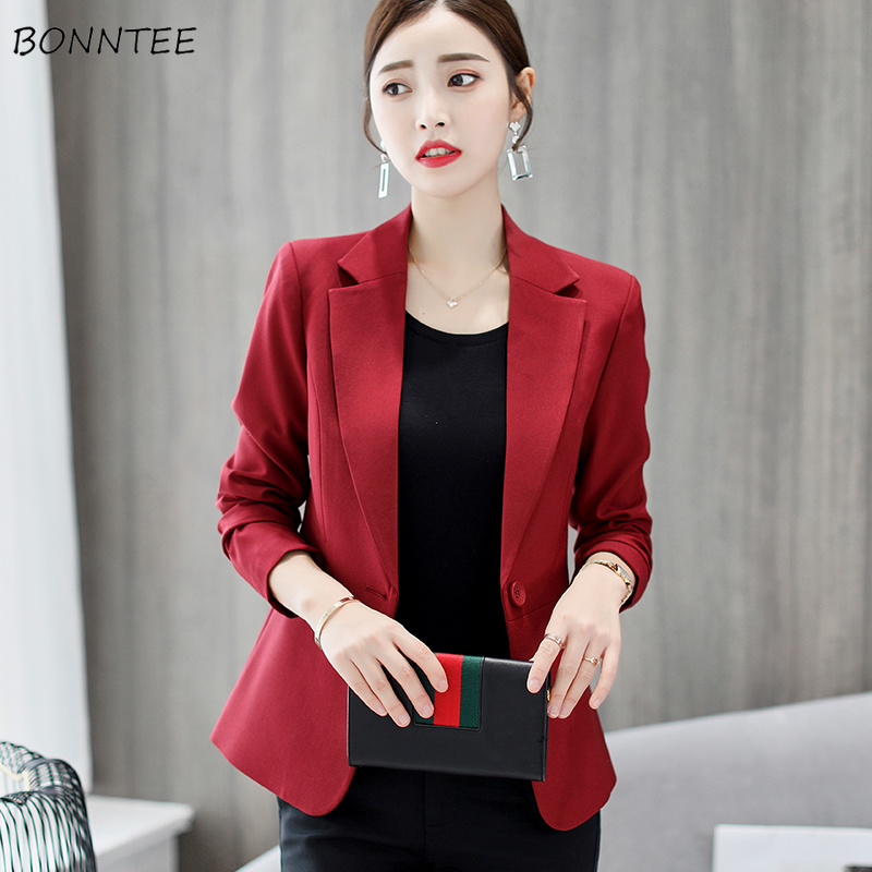Blazers Women Solid Long Sleeves Notched Collar Pockets Womens Blazer All-match Simple Elegant Trendy Korean Style Office Ladies