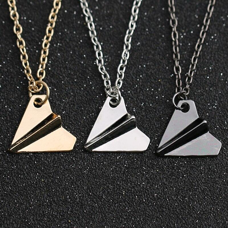 1D One Direction Necklace Paper Airplane Plane Pendant Jewelry Men Women Silver Gold Black Gun Color Fashion Jewelry Wholesale