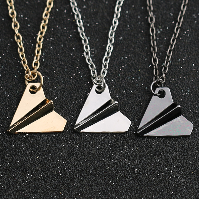 1D One Direction Necklace Paper Airplane Plane Pendant Gold Black Gun Silver Color Fashion Simple Jewelry Men Women Wholesale image