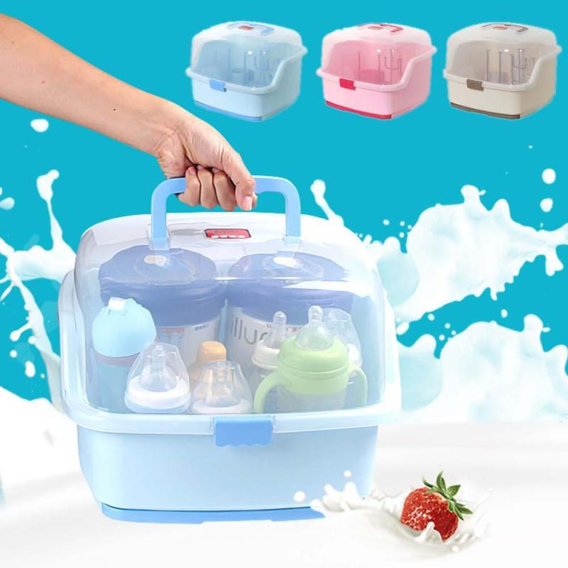 Dustproof baby bottle drying rack storage box Nipple shelf baby pacifier feeding cup holder Baby dishes tableware organizer R4 baby bottle storage box baby feeding bottle cover bag boxes baby feeding bottle holder for travel outdoor