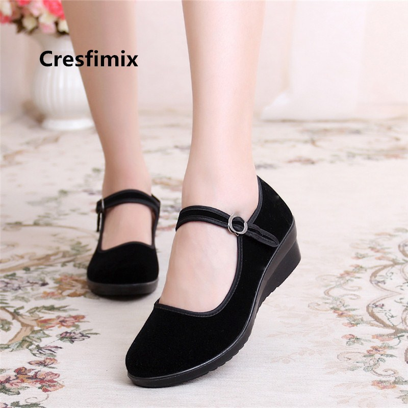 Women Cute Black Wedge Heel Cloth Buckle Strap Shoes Lady Retro Casual Light Weight Comfortable Shoes Zapatos De Mujer E2032Women Cute Black Wedge Heel Cloth Buckle Strap Shoes Lady Retro Casual Light Weight Comfortable Shoes Zapatos De Mujer E2032