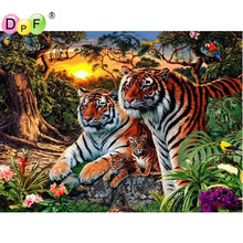 DPF Diamond Painting Cross Stitch Animal 3D DIY Crystal Forest tiger Diamond Embroidery Mosaic pattern Rhinestone Home Decor