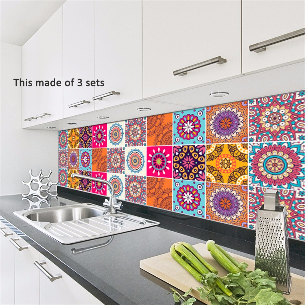 Yanqiao Abstract Pattern Tiles Sticker Wall Art Mural Square ...