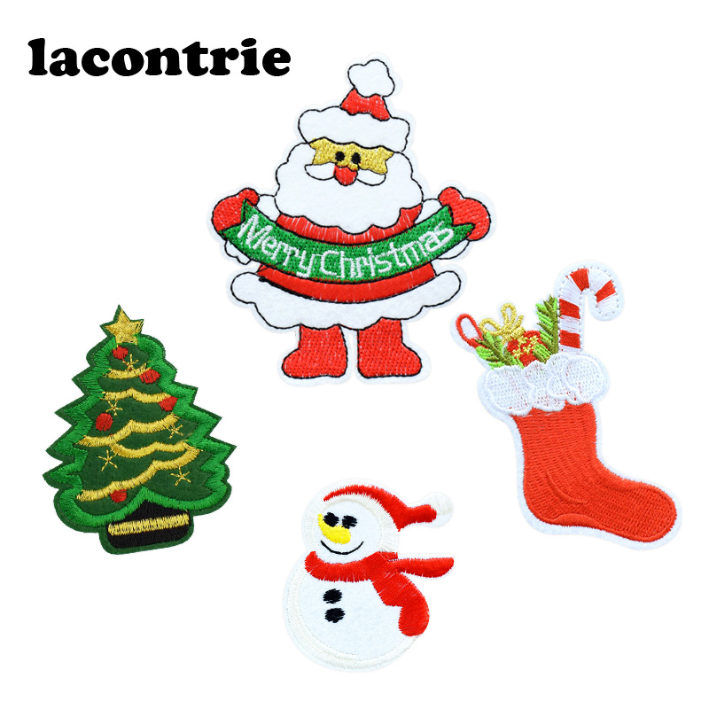 Christmas patches for clothing gifts iron on patches embroidery patch applique parches ropa fashion stickers for clothes 5pcs
