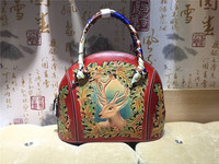 hand carved animal flower picture genuine leather famous design shell bag women handbags woman