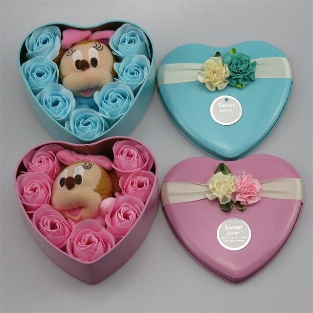 Ponto feito à mão gato doraemon mickey mouse brinquedos de pelúcia com flores de sabão criativo Dos Namorados e presentes de aniversário para meninas