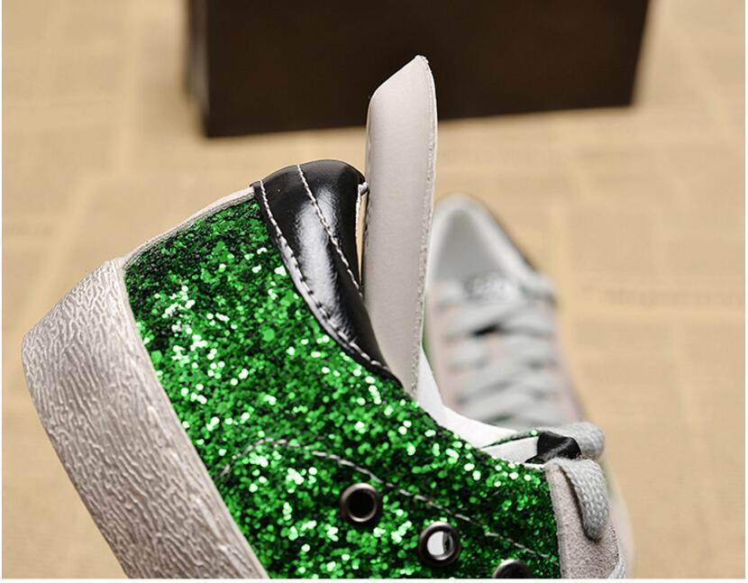 Casuales verde Zapatillas Cuero Mujeres Mujer C205 plata Negro Viejo Color Zapatos Sucio Oro Estrella Las Lana 2018 De Lentejuelas wqAfnIxT61