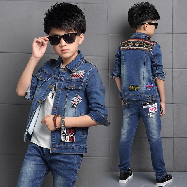 114a8e0adca02 High Quality Boy Clothes 2017 Fashion Toddler Kids Clothes Spring Child  Denim Coat Jacket Jeans Pants 2 pcs Boys Clothing Set