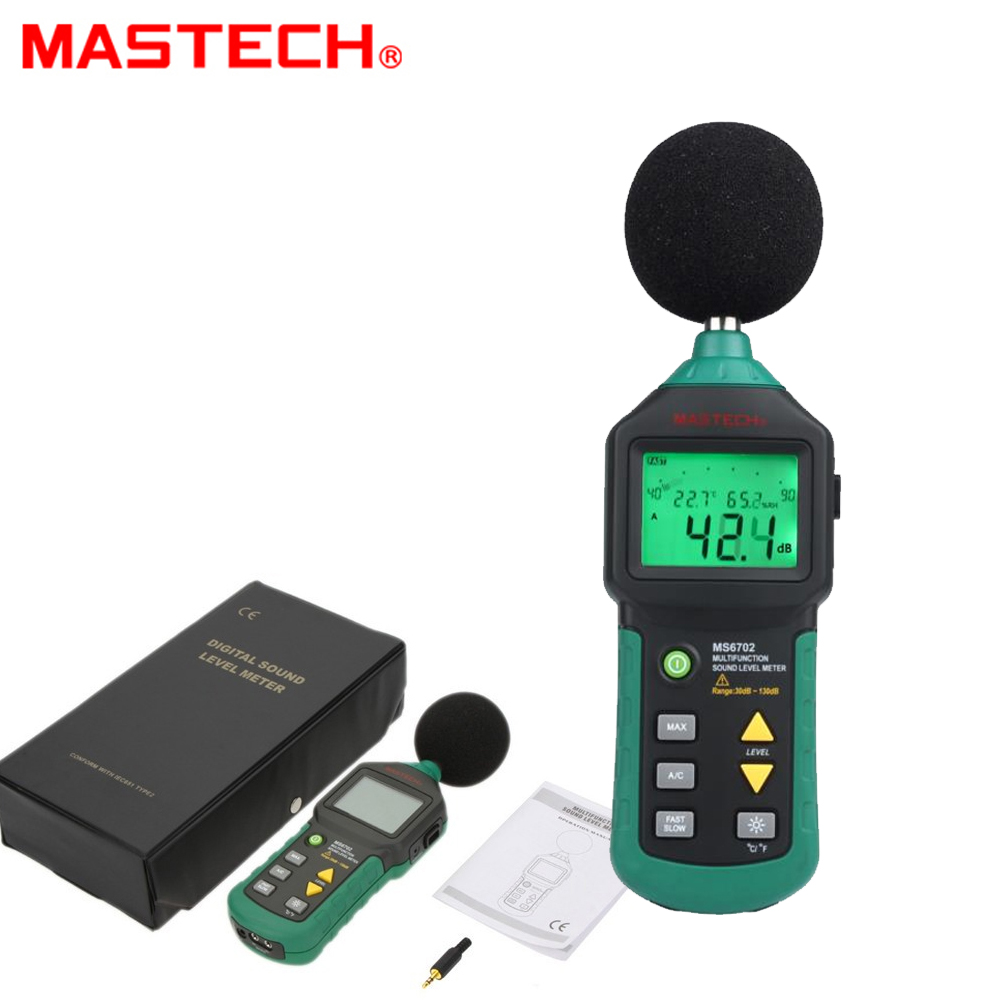 MASTECH MS6702 Digital Sound Level Meter Noise Meter 30dB 130dB DB Decible Meter Tester Temperature Humidity