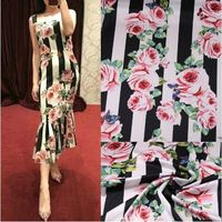 100X145cm Fashion Week Striped Pink Sicilian Rose Butterflies Imitate Silk Satin Fabric Woman Girl Dresses Sleepwear