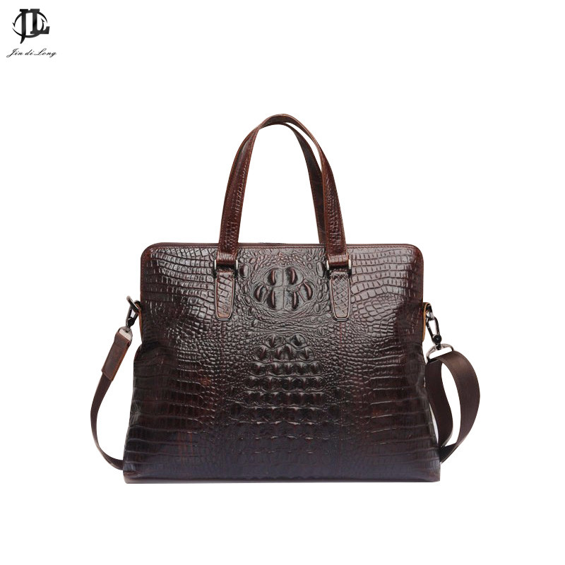 Handbag Crocodile Leather Shoulder Messenger Bag Embossed Pattern Double Belt Zipper Business Bag Handbag Retro New