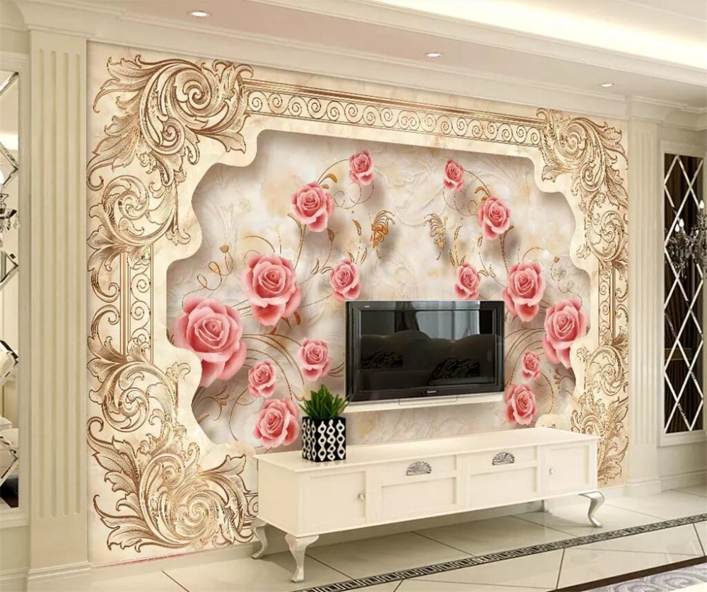 Painting Supplies & Wall Treatments Active Beibehang Custom Wallpaper 3d Photo Mural Stereo Royal Flying Flower European Aristocratic Marble Background Wall Paper 3d Mural